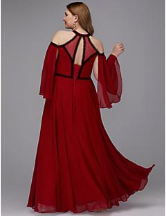 povoljno Haljine većih brojeva-A-kroj Ovalni izrez Do poda Šifon Prom / Formalna večer Haljina s Čipkasti umetak po TS Couture®