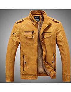 Χαμηλού Κόστους Men's Leather Jackets-Ανδρικά Καθημερινά / Σαββατοκύριακο Πανκ & Γκόθικ Φθινόπωρο / Χειμώνας Κανονικό Jeci Piele, Μονόχρωμο Όρθιος Γιακάς Μακρυμάνικο PU Καφέ / Μαύρο / Κίτρινο XL / XXL / XXXL