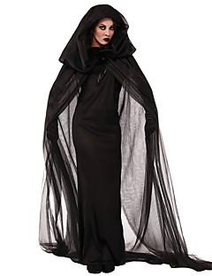 billige Voksenkostymer-Trollmann / heks Cosplay Kostumer Party-kostyme Dame Halloween Festival / høytid Drakter Svart Ensfarget Blonder