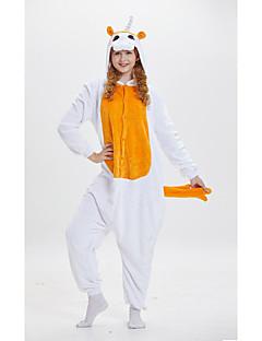 billige Kigurumi-Voksne Enhjørning Anime Onesie-pysjamas polyesterfiber Oransje Cosplay Til Damer og Herrer Pysjamas med dyremotiv Tegnefilm Festival / høytid kostymer