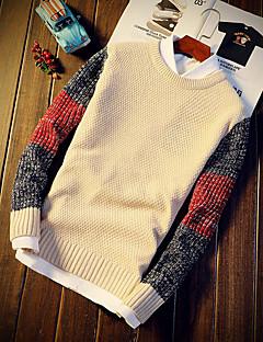 baratos Suéteres & Cardigans Masculinos-Homens Moda de Rua Pulôver - Estampa Colorida