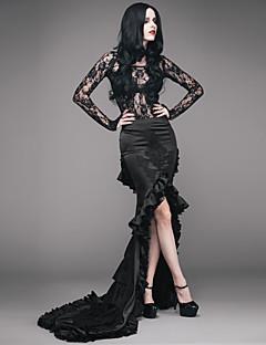 billiga Lolitamode-Cosplay Svart svan Gotiskt Steampunk Kostym Dam Maskerad Svart Vintage Cosplay Spets Polyster Golvlång