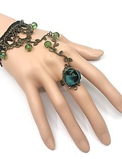 cheap Steampunk-Rozen Kristall Floral Style Punk Lolita Steampunk Costume Women's Chain Bracelet Ring Bracelet / Slave bracelet Blue / Black Vintage Cosplay Alloy Metal