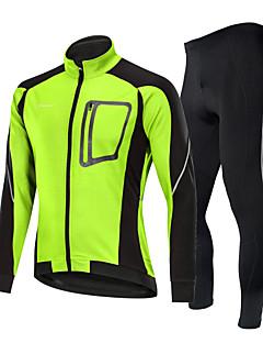 billige Sett med sykkeltrøyer og shorts/bukser-Nuckily Sykkeljakke med bukser - Svart / Svart / Rød / Svart / Grønn Sykkel Vindtett, Vinter, Spandex Lapper