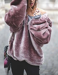 tanie Damskie bluzy z kapturem-Damskie Moda miejska Luźna Bluza z Kapturem - Solidne kolory, Ponadgabarytowych / Nadwymiarowe