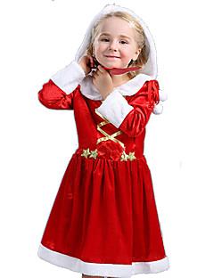 billige julen Kostymer-Nisse drakter Cosplay Kostumer Jente Barne Jul Jul Nytt År Festival / høytid Drakter Rød Ferie