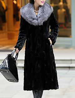 Χαμηλού Κόστους Γυναικείες Γούνες & Δέρμα-Γυναικεία Γούνινο παλτό Κομψό στυλ street / Εκλεπτυσμένο - Μονόχρωμο, Patchwork