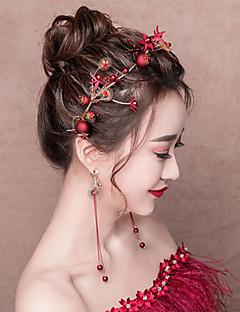 billiga Lolitaaccessoarer-Dekorationer Ringörhänge Brud Smyckeset Elegant Dam Röd Mosaik Mode Huvudbonad Örhänge Legering Kostymer