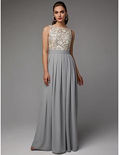 billiga Aftonklänningar-A-linje Prydd med juveler Golvlång Chiffong / Spets Formell kväll Klänning med Plisserat / Spetsinlägg av TS Couture®