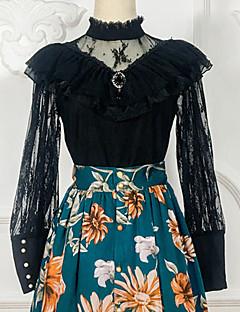 billiga Lolitaklänningar-Söt Lolita Casual Lolita Klänning Artistisk / Retro Söt Lolita Spets Dam Blus / Skjorta Cosplay Svart Spetsärmar Långärmad Över Knät Kostymer