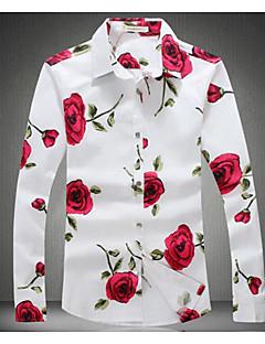 billige Store størrelser-Herre-Bomull Tynn Klassisk krage Skjorte Herre - Blomstret, Trykt mønster / Langermet