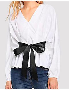 billige Skjorte-T-shirt til kvinder - solid farvet v-hals