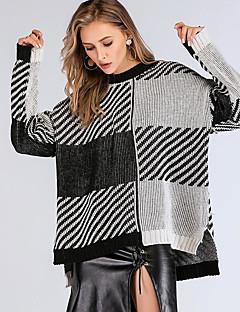 baratos Suéteres de Mulher-Mulheres Básico Pulôver - Quadriculada