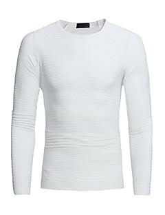 baratos Suéteres & Cardigans Masculinos-pullover de algodão manga longa masculina slim - colorido sólido