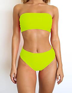 billige Bikinier og damemote 2017-Dame Grunnleggende Stroppeløs Gul Lysegrønn Regnbue Bandeau Cheeky Bikinikjole Badetøy - Regnbue M L XL