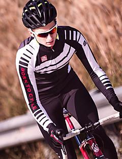 billige Sykkelklær-SANTIC Langermet Sykkeljersey med tights - Svart / Rød Sykkel Hold Varm, Vinter Stribe / Mikroelastisk