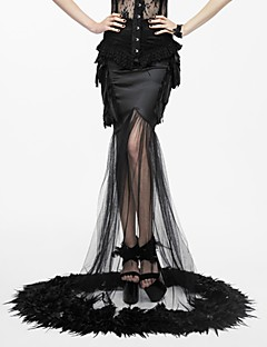 billiga Lolitamode-Cosplay Svart svan Gotiskt Steampunk Kostym Dam Klänningar Maskerad Svart Vintage Cosplay Spandex Cotton Golvlång