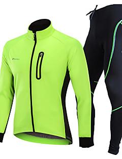 billige Sett med sykkeltrøyer og shorts/bukser-Nuckily Sykkeljakke med bukser - Svart / Grønn / Blå Sykkel Vindtett, Vinter, Spandex Ensfarget