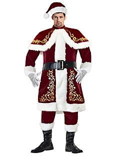 billige julen Kostymer-Nisse drakter Herre Voksen Voksne Halloween Jul Jul Halloween Karneval Festival / høytid Drakter Rød Ensfarget Jul