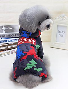 billiga Hundkläder-Hund / Katt Kappor / Jumpsuits Hundkläder Citat och ordspråk / Kamouflage Svart / Röd Cotton Kostym För husdjur Unisex Punk / Färgblock