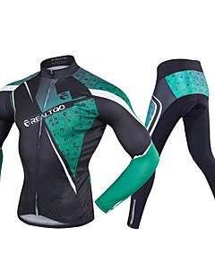 billige Sykkelklær-Realtoo Langermet Sykkeljersey med tights - Grønn / Svart Sykkel Spandex Klassisk / Mikroelastisk