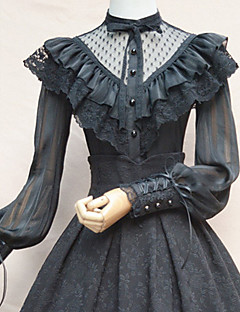 billiga Lolitamode-Söt Lolita Casual Lolita Klänning Söt Lolita Elegant Spets Dam Blus / Skjorta Cosplay Vit / Svart Juliet Långärmad Halloweenkostymer