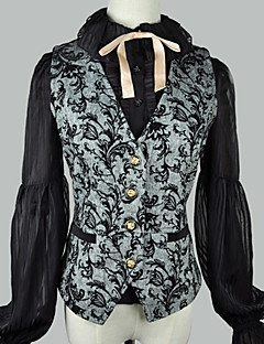 billiga Lolitaklänningar-Klassisk / Traditionell Lolita Traditionellt / Vintage Elegant Dam Korsett Cosplay Svart / Grå Ärmlös Ärmlös Kostymer