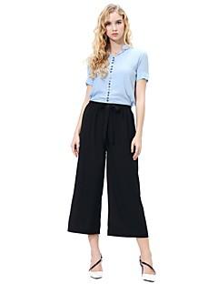 billige Herrebukser og -shorts-kvinners løse chinos / brede benbukser - stripet / solid farget khaki