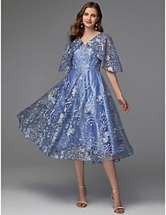 billiga Cocktailklänningar-A-linje V-hals Telång Spets Klänning med Spetsinlägg av TS Couture® / Cocktailfest / Bal