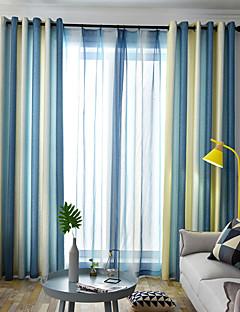 billige Gardiner-gardiner gardiner Spisestue Stribe / Moderne Polyesterblanding Trykket