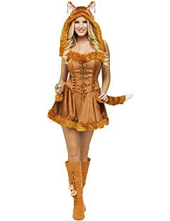 billige Halloweenkostymer-Dyremønster Ulv Kvinner Kjoler Hatter Santa Clothe Dame Voksne Halloween Jul Jul Halloween Karneval Festival / høytid Terylene Polyester Drakter Brun Dyr