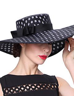 billiga Lolitamode-Elizabeth Den underbara fru Maisel Kentucky Derby Hat hatt damer Vintage Femtiotal Dam Svart Prickig Keps Linne / Bomull Kostymer
