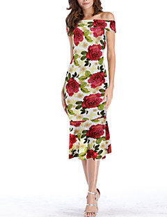 baratos Vestidos de Festa-Mulheres Básico Bainha Vestido Geométrica Médio