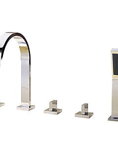 billige Romersk- bad-Badekarskran - Moderne Krom Romersk kar Keramisk Ventil Bath Shower Mixer Taps / Messing / Tre Håndtak fem hull