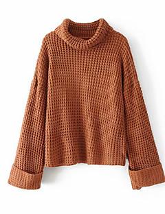 tanie Swetry damskie-Damskie Codzienny Moda miejska Solidne kolory Długi rękaw Regularny Pulower, Golf Brązowy / Biały / Czarny Jeden rozmiar