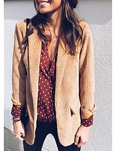 billige Overtøj til damer-Dame Daglig Normal Blazer, Ensfarvet Krave Langærmet Polyester Brun / Rød M / L / XL