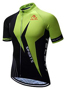 TELEYI Men s Short Sleeve Cycling Jersey - Black   Green Bike Jersey Quick  Dry Sports Coolmax® Terylene Mountain Bike MTB Road Bike Cycling Clothing  Apparel ... 7fd40a02c