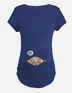 billiga Mammakläder-Enfärgad Bomull T-shirt Dam / Gulligt