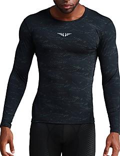 billiga Träning-, jogging- och yogakläder-UABRAV Herr Rund hals T-shirt för jogging - Svart, Mörkgrå sporter Rand, Blommig / Botanisk Överdelar Löpning, Fitness, Träna Långärmad Sportkläder Andningsfunktion, Snabb tork, Svettavvisande