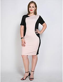 b5476f687b129 Women s Plus Size Party   Daily Vintage   Street chic Slim Shift   Sheath   Tunic  Dress - Color Block   Patchwork Black Pink XXXXL XXXXXL XXXXXXL
