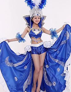 billige Halloween- og karnevalkostymer-Karneval Spansk Lady Kostume Samba Headdress Dame Voksne Paljetter Flamenco Halloween Halloween Karneval Maskerade Festival / høytid Palliet Polyester Drakter Rød / Blå Paljetter
