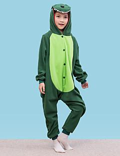 billige Kigurumi-Dinosaur Onesie-pysjamas Polar Fleece Grønn Cosplay Til Gutter og jenter Pysjamas med dyremotiv Tegnefilm Festival / høytid kostymer