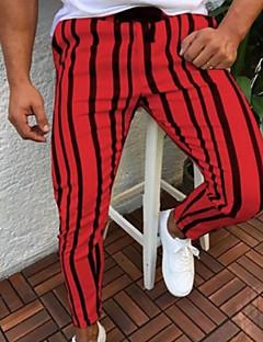 povoljno Muške hlače-Muškarci Ulični šik Sportske hlače Hlače Jednobojni / Prugasti uzorak