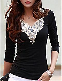 billige T-shirt-V-hals Dame - Broderi I-byen-tøj T-shirt Sort og hvid