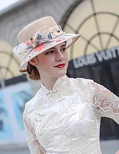 billiga Lolitamode-Den underbara fru Maisel Kentucky Derby Hat hatt damer Retro / vintage Dam Ljuskamel Rosett Keps Tyll Linne / Bomull Kostymer