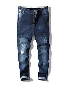 billige Herrebukser og -shorts-Herre Grunnleggende Jeans Bukser - Ensfarget Blå