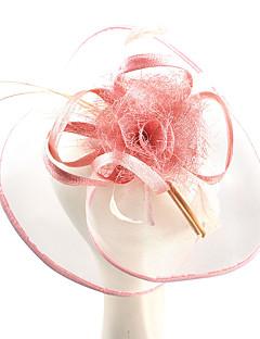 billiga Lolitamode-Elizabeth Den underbara fru Maisel Felt hattar Kentucky Derby Hat hatt damer Retro / vintage Dam Rosa Blomma Keps Tyll Linne / Bomull Kostymer