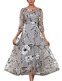 cheap Top Sellers-Women's Daily Elegant A Line Skater Dress - Floral Gray L XL XXL