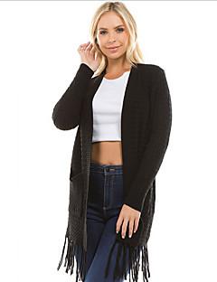 tanie Swetry damskie-Damskie Codzienny Moda miejska Solidne kolory Długi rękaw Długie Sweter rozpinany Czarny / Rumiany róż / Khaki M / L / XL