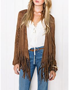 저렴한 여성 아웃웨어-여성용 일상 스트리트 쉬크 긴 트렌치 코트, 솔리드 V 넥 긴 소매 폴리에스테르 태슬 브라운 M / L / XL